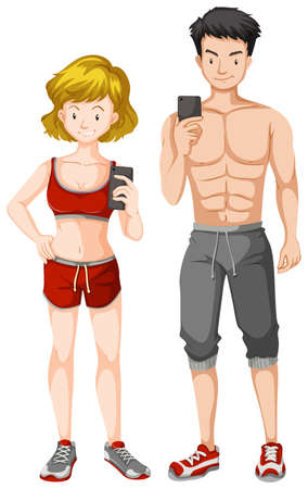 Man and woman with muscular body illustration