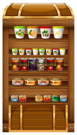 canned food: Shelves full of canned food illustration