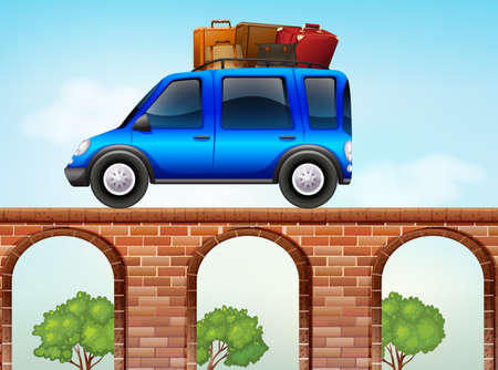 loaded: Car loaded with luggages illustration Illustration