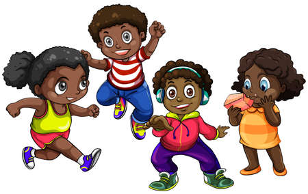 african girls: African American boys and girls illustration