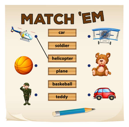 matching: Matching game objects and words illustration