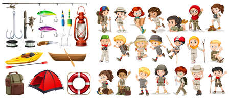 trekking pole: Children and camping equipment illustration Illustration