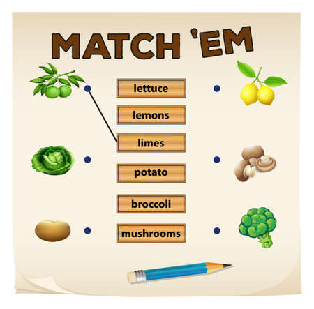 matching: Matching game with fresh vegetables illustration