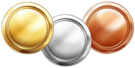 metal drawing: Three shiny coins on white background illustration