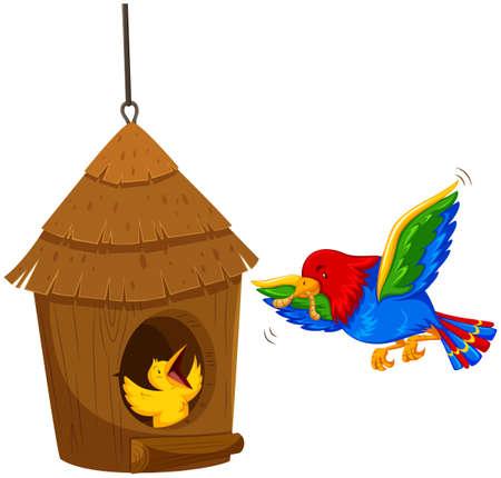 Bird feeding the chick with worm illustration Illustration