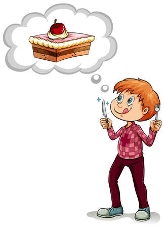 guy standing: Man thinking of piece of cake illustration Illustration