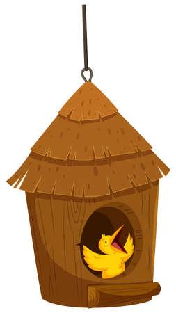 little bird: Little bird in the bird house illustration Illustration