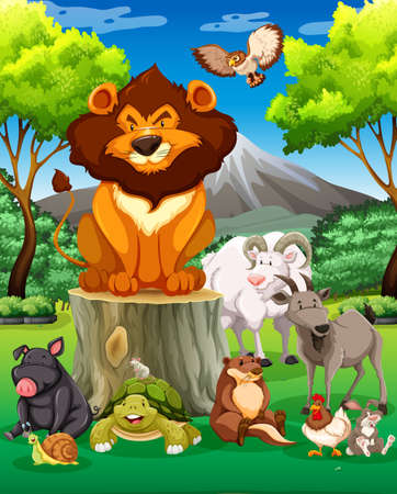 animals together: Wild animals together in the field illustration