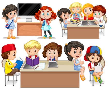 computer education: Children studying at their desk illustration Illustration