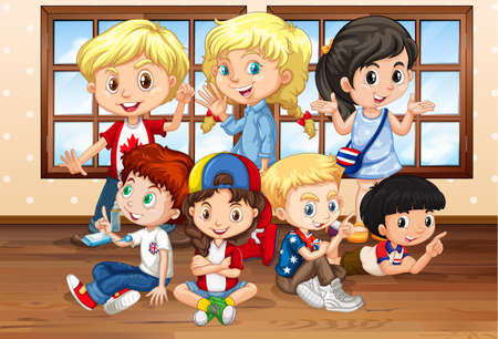 niños felices: Muchos niños en la ilustración aula
