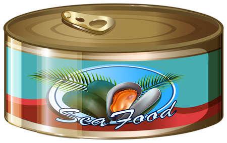 aluminum: Seafood in aluminum can illustration