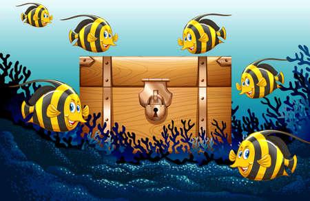 Fish swimming under the ocean illustration