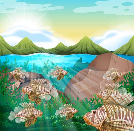 Ocean scene with lion fish underwater illustration