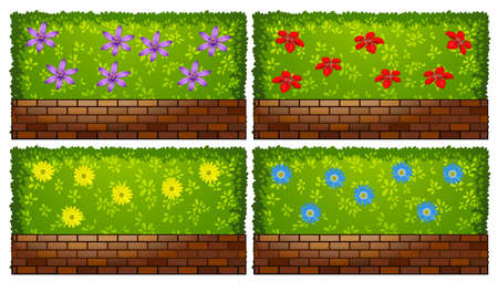 Fence design with bush and bricks illustration Illustration