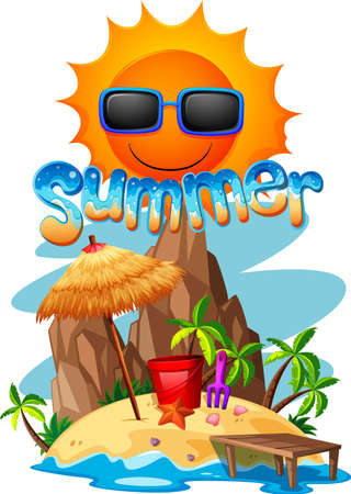 island clipart: Summer theme with island and ocean illustration