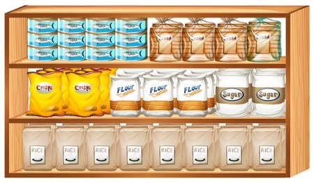 art product: Shelves full of different kinds of food illustration