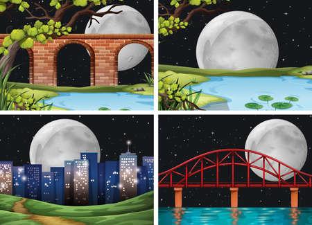 Four scenes of city on fullmoon night illustration Illustration
