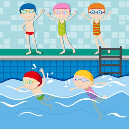natacion: Las personas que nadan en la ilustración de la piscina