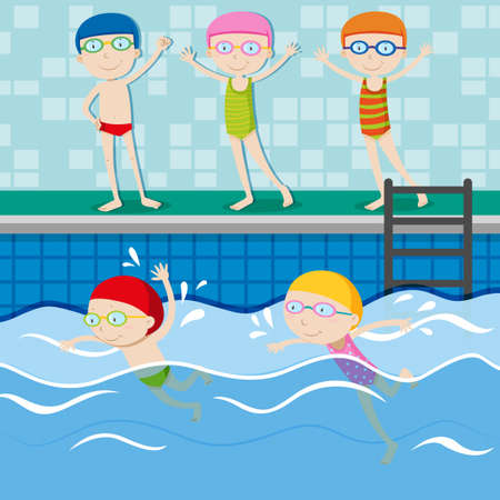 young boy in pool: People swimming in the swimming pool illustration