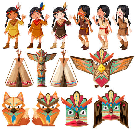 indios americanos: Nativo americano indios y tradicional juego de naves ilustración