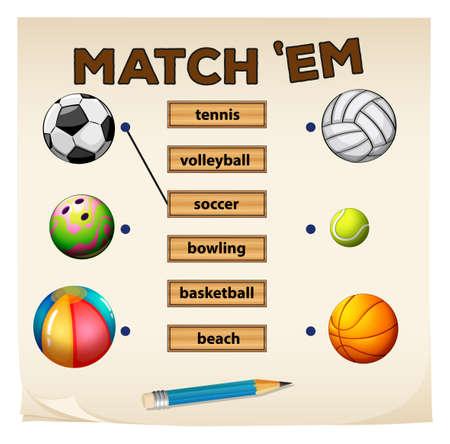 balones deportivos: Matching juego con deportes y bolas ilustración