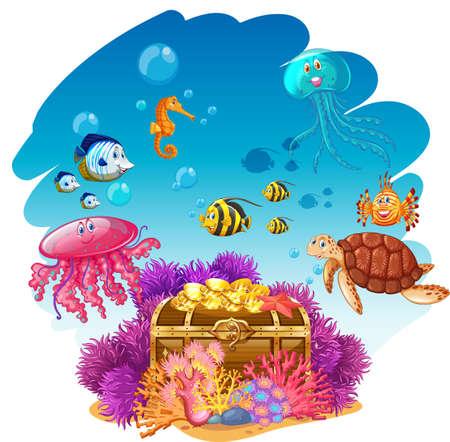 Treassure chest and sea animals underwater illustration Illustration