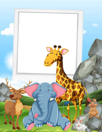 animals frame: Frame design with wild animals illustration Illustration