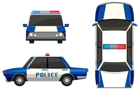 Politieauto in drie verschillende hoeken illustratie