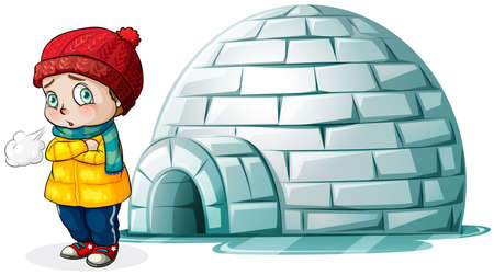 Boy standing in front of igloo illustration