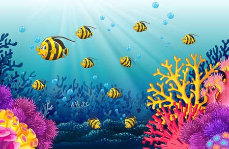 fishtank: Lots of fish under the sea illustration