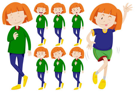 expresiones faciales: Mujer con diversas expresiones faciales ilustración