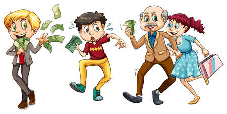 People with lots of money illustration Illustration