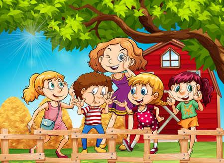 barn girls: Many kids in the farmyard illustration