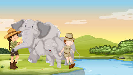 girl in nature: Kids and elephants by the river illustration