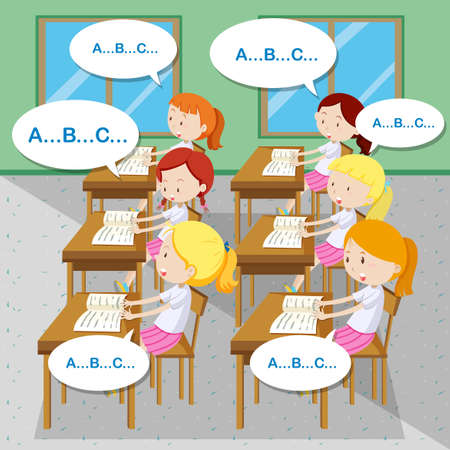 schoolmate: Students learning English in classroom illustration Illustration