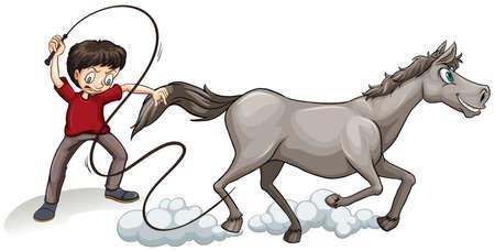 Man training horse with whip illustration