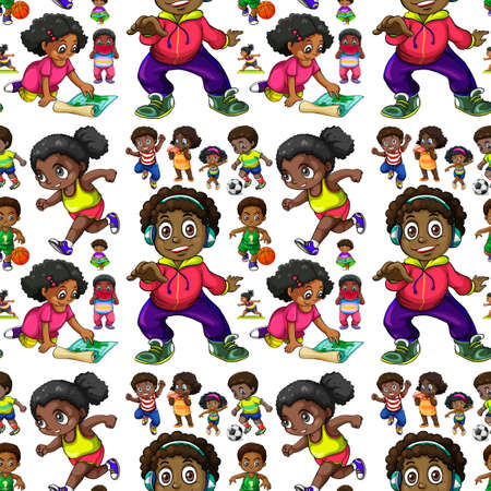 african american boys: Seamless background with African American kids illustration Illustration