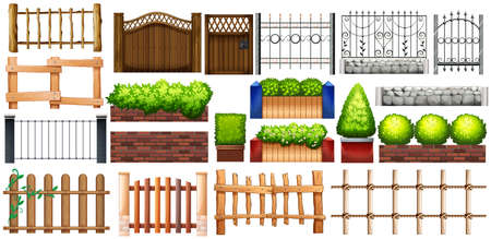 Different design of fence and wall illustration Illustration