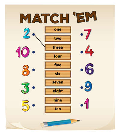 matching: Matching game with numbers illustration