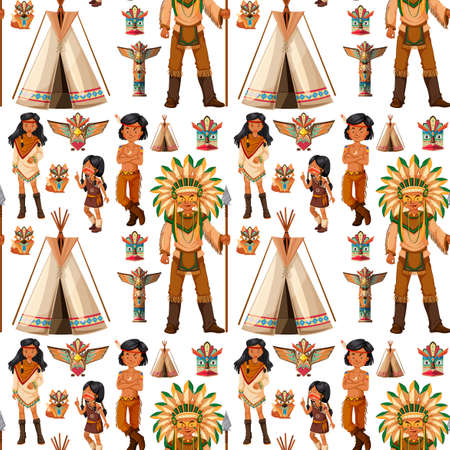 Seamless background with native american indians illustration