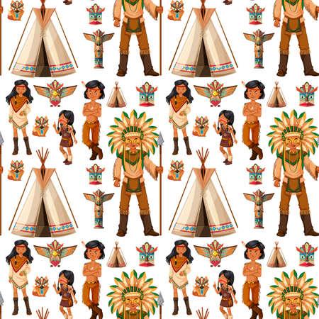 Sfondo trasparente con indiani nativi americani illustrazione