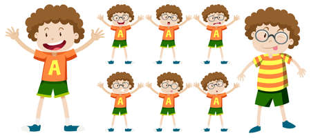 Boy with curly hair in different expressions illustration