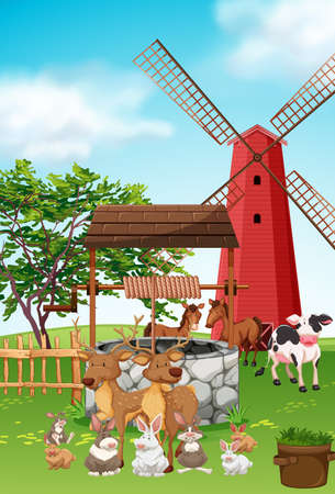 Farm animals living in the farm illustration Illustration
