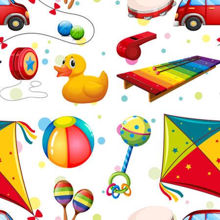 xilofono: diseño sin fisuras con muchos juguetes ilustración Vectores