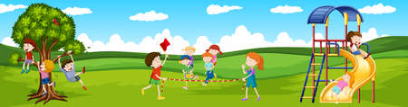 playing games: Children playing games in the park illustration
