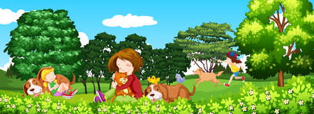 illustrated: Scene with children and pet in the park illustration Illustration