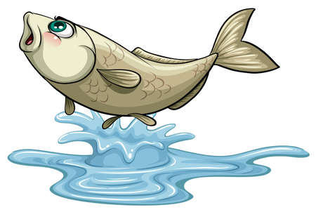 Fish jumping out on water surface illustration