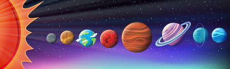earth from space: Planets in solar system illustration