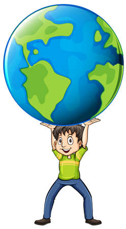 lifting globe: Happy man holding the world illustration Illustration