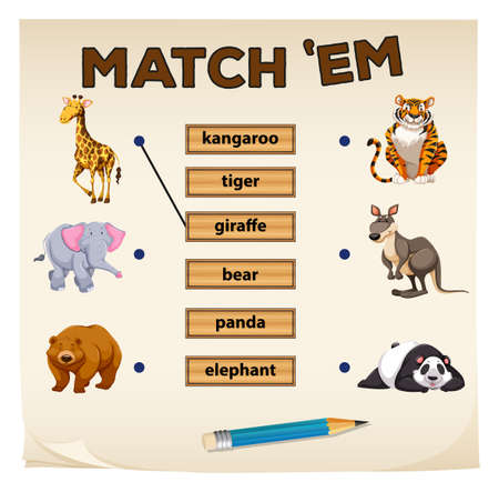animales silvestres: juego de correspondencias con los animales salvajes ilustración Vectores
